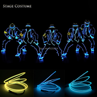Hot Selling Dance Wear EL Wire Flashing Costume Jazziness Wear Led Luminous Suit For Dance Stage Show Costums