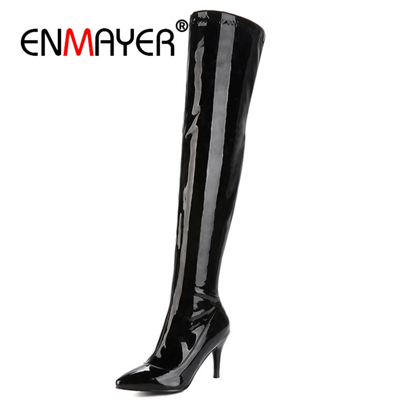 ENMAYER Pointed Toe High heel over the knee boots women thigh high boots shoes woman botas mujer bottine femme Fashion CR765 in Over the Knee Boots from Shoes