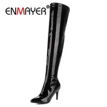 купить ENMAYER Pointed Toe High heel over the knee boots women thigh high boots shoes woman botas mujer bottine femme Fashion CR765 по цене 1828.88 рублей