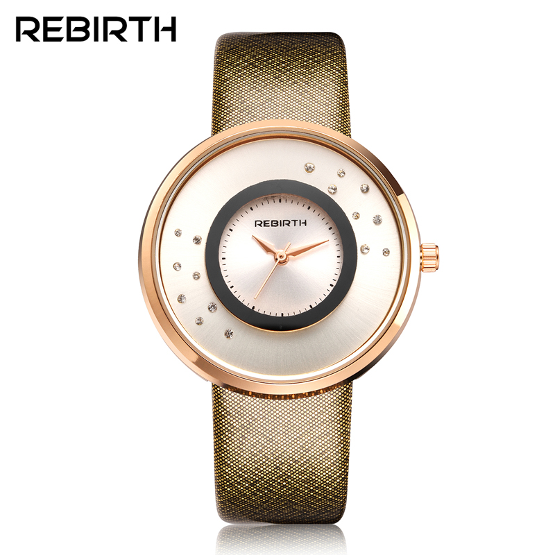 REBIRTH Quartz Brand Lady Watches Women Luxury Rose Gold Fashion Square Casual Leather Dress Wrist watch Relogio Feminino Montre swiss fashion brand agelocer dress gold quartz watch women clock female lady leather strap wristwatch relogio feminino luxury