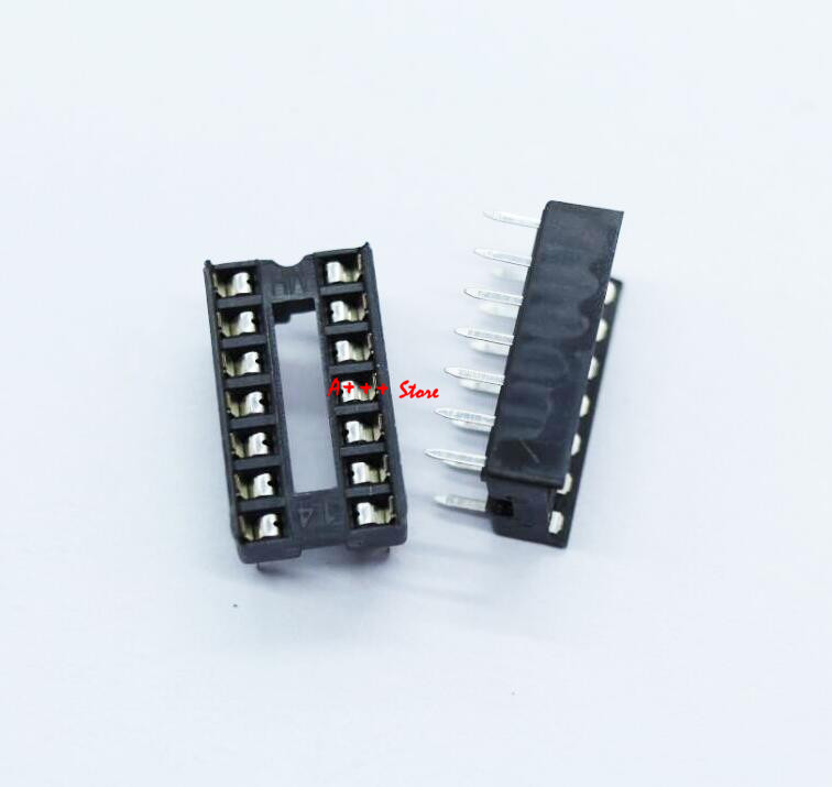 20PCS 14 Pin DIP Square Hole IC Sockets Adapter 14Pin Pitch 2.54mm Connector