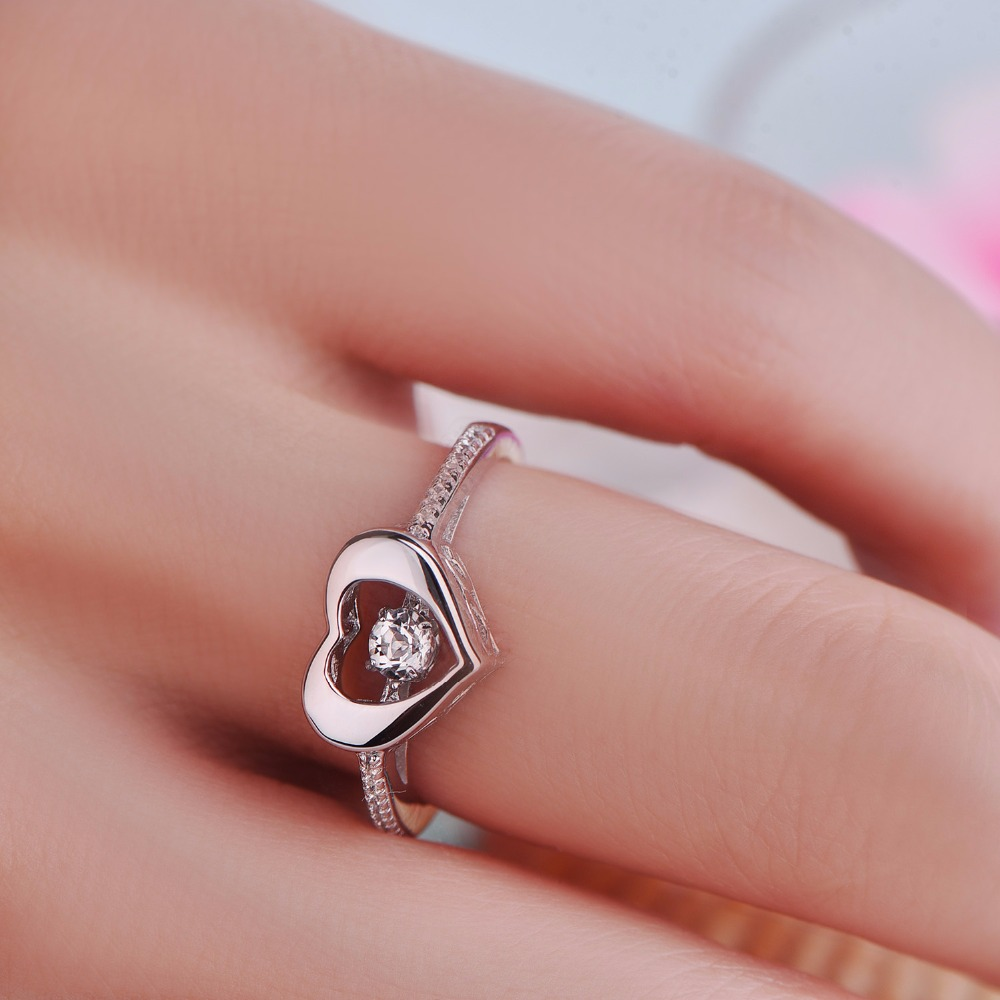 JO WISDOM Heart Love Rings Female 925 Silver Wedding Rings for Women ...