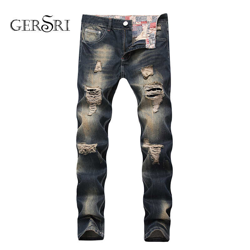 4f1df4ca Gersri Brand Designer Straight Brand Jeans Men Hi-Street Mens Cotton  Distressed Denim Joggers Knee