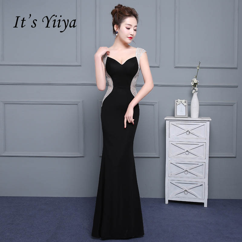 It's Yiiya Sex Black Backless Satin V-neck Zipper Elegant   Evening     Dresses   Mermaid Party Gown   Evening   Gowns Formal   Dresses   LX180