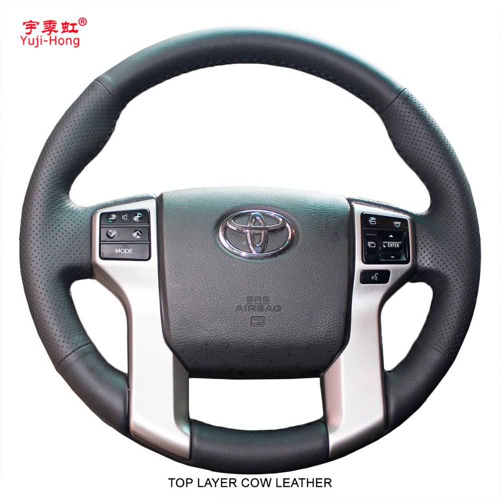Yuji Hong Genuine Leather Car Steering Covers Case for Toyota Prado 2010 2016 Top Layer Cow