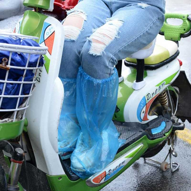 1 par duradero impermeable grueso plástico desechable Botas de lluvia cubre bota superior