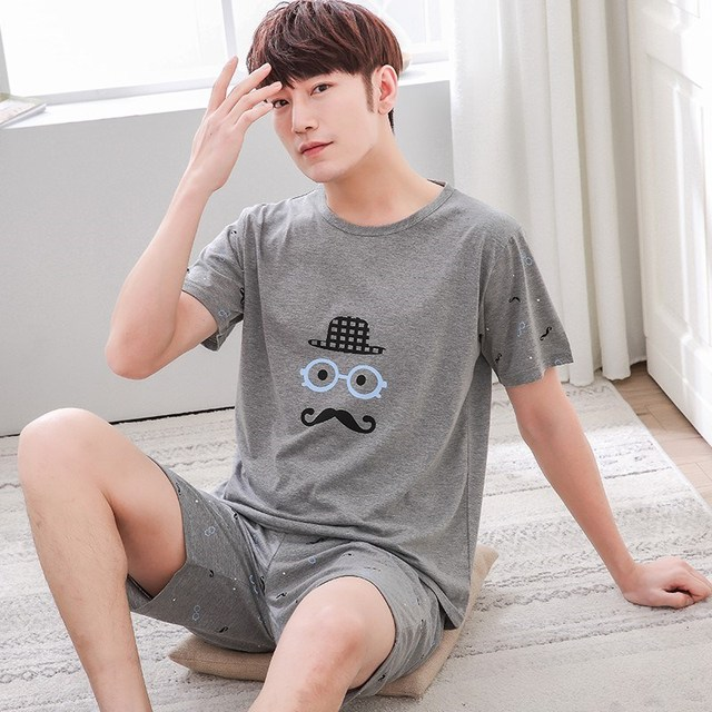 Frree shipping Men Pyjamas Short Sleeve Cotton Casual Pajamas Set Sleep Shorts Suit Male Big Size L-4XL Sleepwear