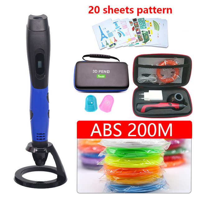 2018 New 3d pen Portable 3d printer pen USB powered Suit able for abs/pla filament Suitable for outdoor painting with Cortex bag(China)