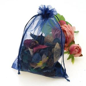 Image 3 - Wholesale 100pcs/lot 15x20cm Deep Blue Wedding Drawable Organza Voile Gift Packaging Bags Can Customized Logo Printing 02
