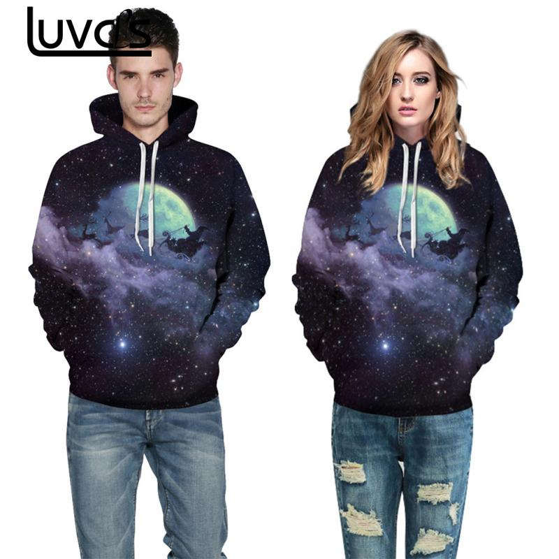 LUVCLS Star Elk Printing Hooded Sweatshirts Fashion Women Men Couple Colorful Leisure Hooded Sweatshirts Fashion Pullovers