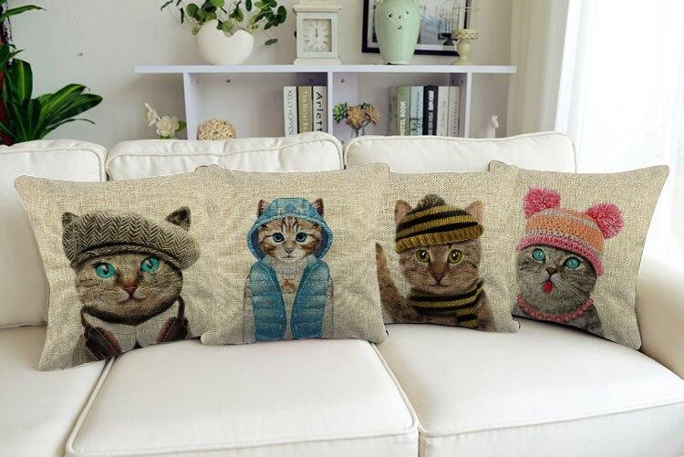 Il Simpatico Gatto indossa vari stili di cappelli Decor Cuscino Cuscino di Cotone di Tela Decorativa Cuscini Auto e Casa der