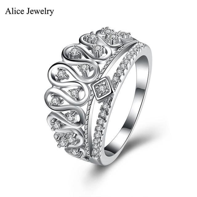 SVR111 2016 New 100% Genuine Real Pure 925 Sterling Silver Ring AAA Zircon Crown Party /Engagement /Wedding Rings For Women