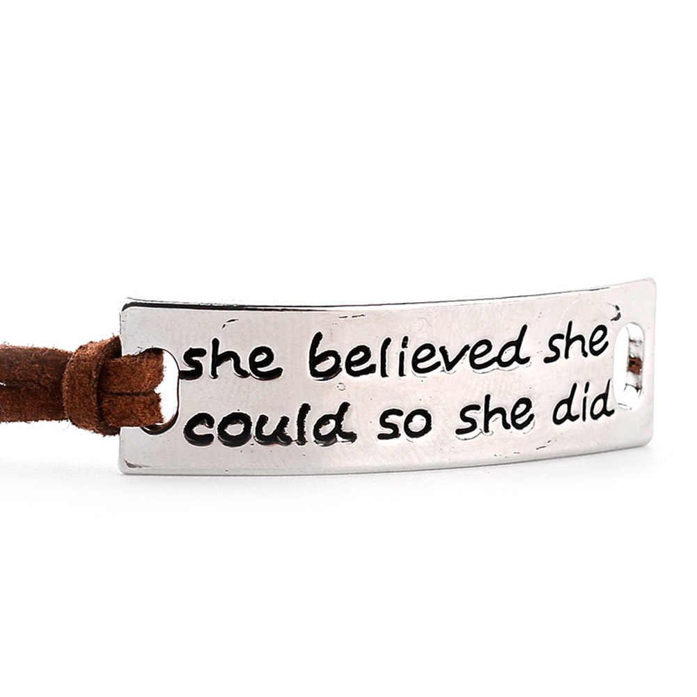 """Она верила, что она может так сделать """"вдохновляющий браслет с буквами шарм для женщин Подарки"""