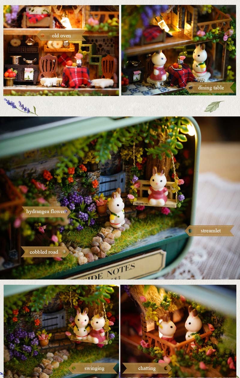 Funny Countryside Notes 3D Wooden DIY Handmade Box Theatre Dollhouse Miniature Box Cute Mini Doll House Assemble Kits Gift Toys (5)