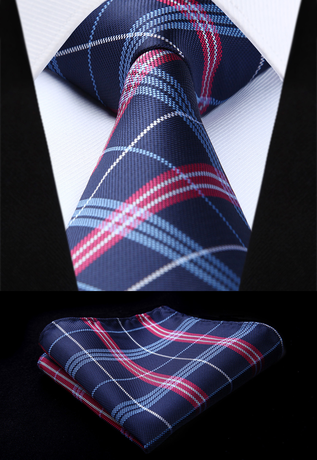 Tc814v8s Plaid Navy Blue Burgundy Check 3 4 Quot Silk Tie
