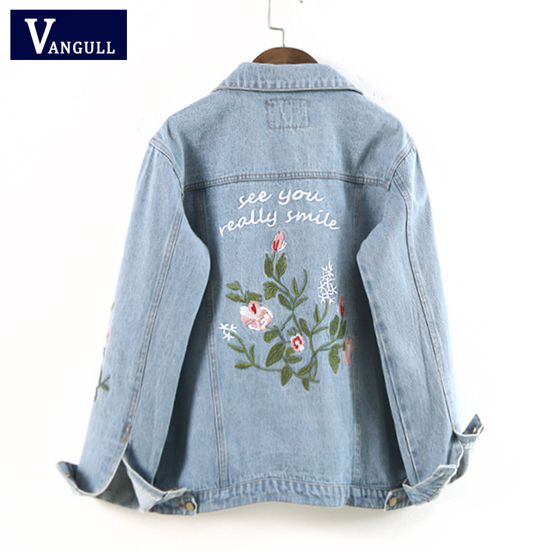 Women Floral Embroied Denim <font><b>Bomber</b></font> <font><b>Jacket</b></font> <font><b>Ladies</b></font> Elegant Autumn Outwear Female Vintage Fashion Coat Capa Mujer VANGULL 2018 image
