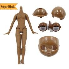 Muñeca Blyth accesorios de tono de piel súper negro cuerpo, cuero cabelludo, cúpula, placa frontal, mecanismo de ojos traje para la muñeca 1/6