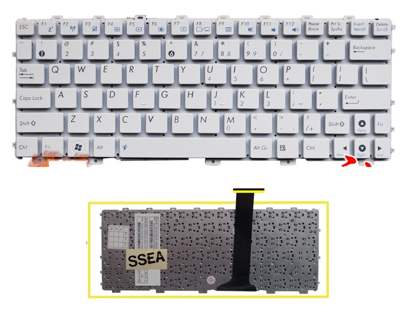 SSEA New US Keyboard white For ASUS Eee PC 1025C X101 X101H X101CH laptop Keyboard without Frame