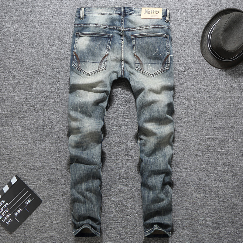 Vintage Design Men 39 s Jeans Retro Washed White Paint Elastic Skinny Jeans Men Fashion Hip Hop Trousers Classical Jeans homme in Jeans from Men 39 s Clothing