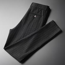 Minglu אנכי פסים Mens מכנסיים בתוספת גודל 4xl יוקרה רך חוט צבוע סתיו גברים מכנסי קזואל Slim Fit אלסטיים סקיני מכנסיים גברים