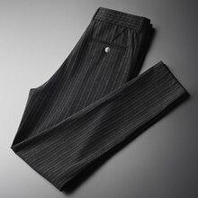 Minglu rayas verticales pantalones de talla grande 4xl de lujo suave hilo teñido de otoño de los hombres pantalones casuales Pantalones Slim elástico pantalones pitillo para hombres