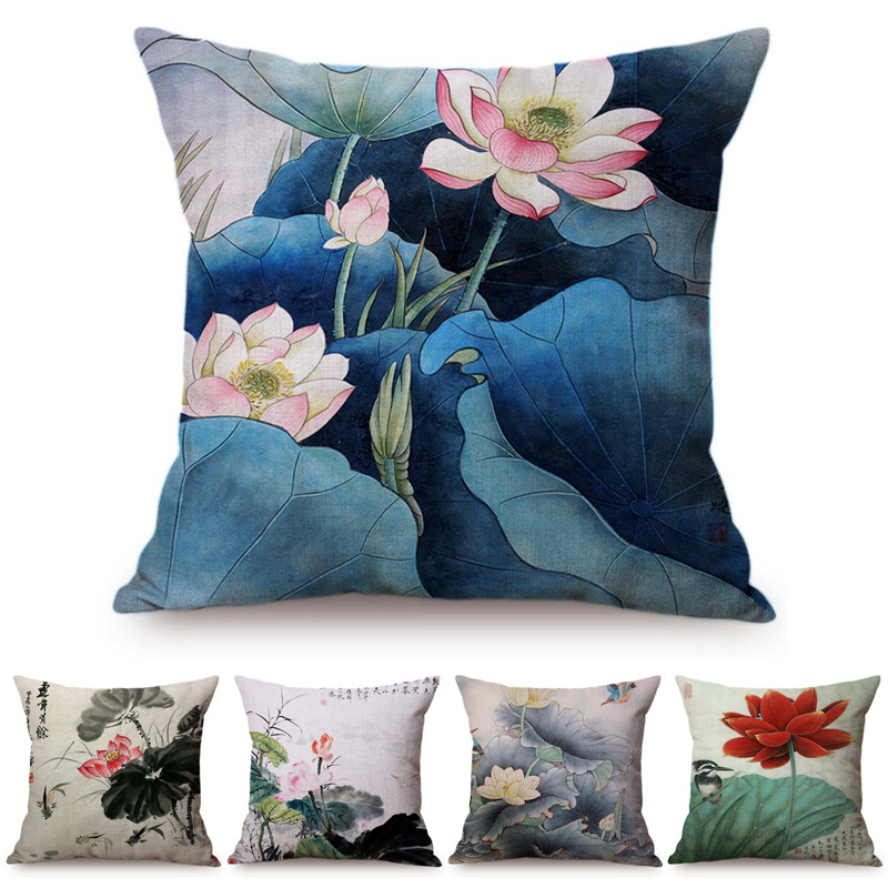 Chinese Vintage Watercolor Painting Lotus Throw Pillow Case Beautiful Summer Flower Bird Cushion Covers Elegant Home Decorative