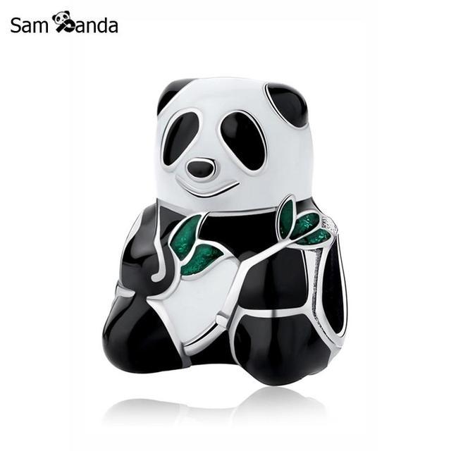 263bf0d6d ... buy original 925 sterling silver charm bead sweet panda bear charms  chinese treasure fit pandora bracelets