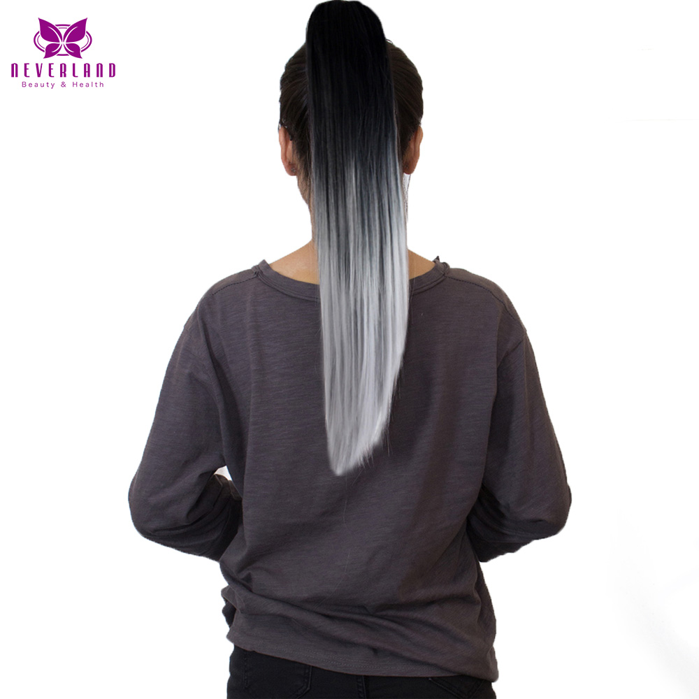 Neverland 20 Silver Grey Ombre Ponytails Hair Extensions