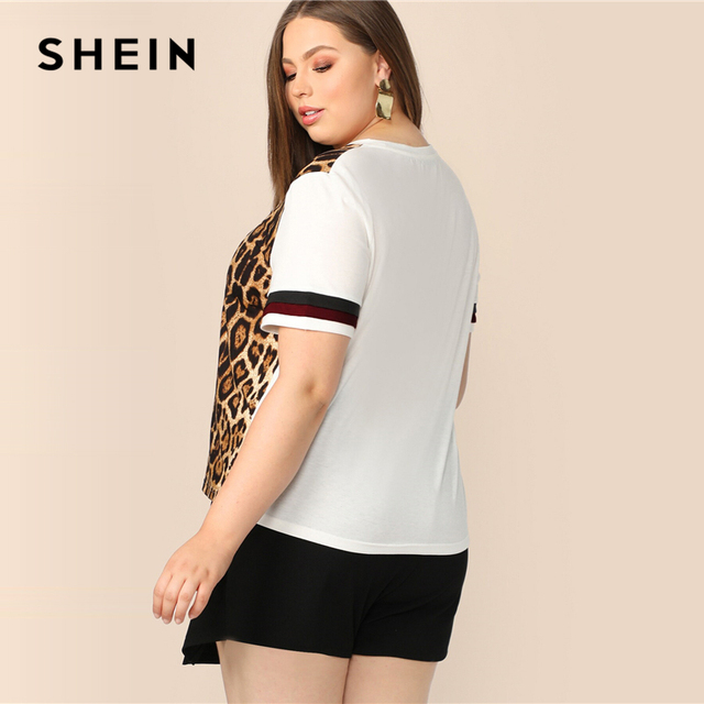 SHEIN Plus Size Cut And Sew Striped Leopard Top Women 2019 Summer Colorblock Casual Round Neck Tee Highstreet Weekend T-shirt 3