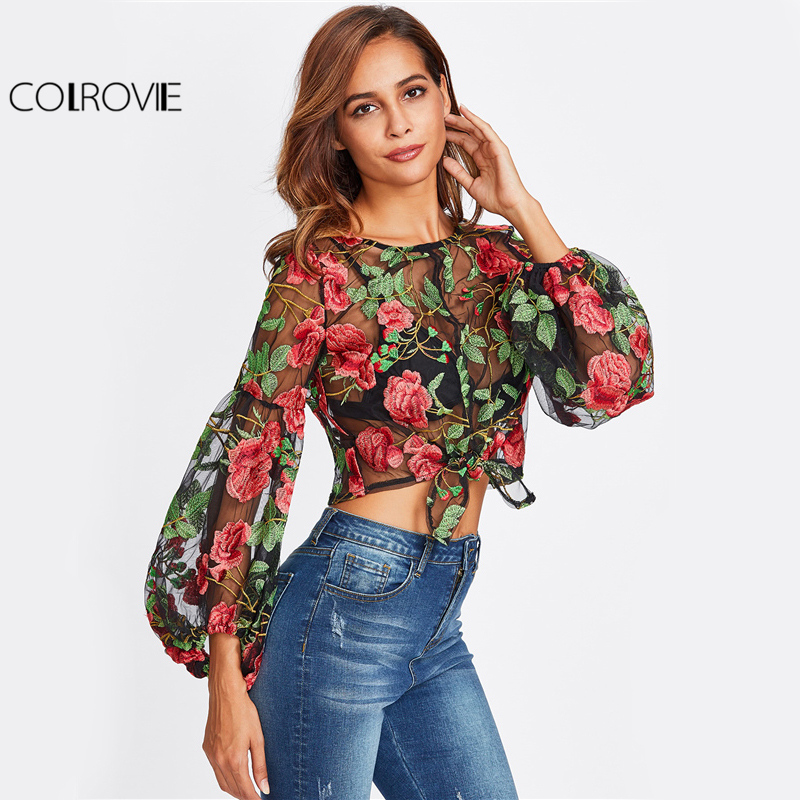 COLROVIE Floral Embroidery Mesh Crop Blouse Lantern Sleeve Women Elegant Semi Sheer Tops 2017 Casual Knot