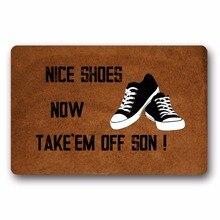 Entrance Floor Mat Non-slip Doormat Nice Shoes Now Take Door Outdoor Indoor Rubber Non-woven Fabric Top 15.7x23.6 Inch
