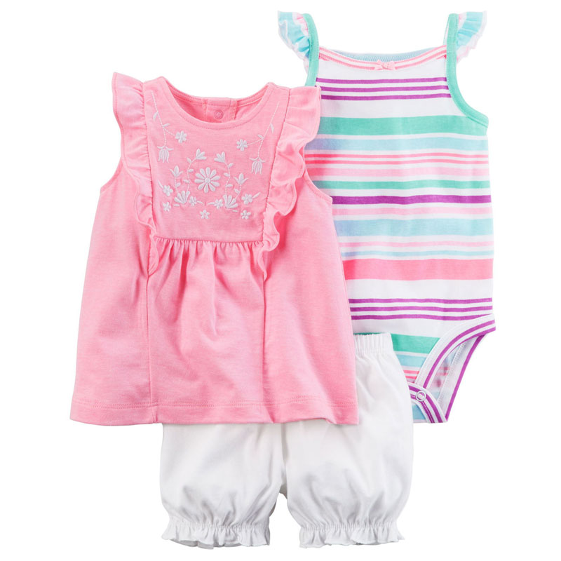 Kids Summer 2017 new Fashion wave point clothing set baby girls cute cotton clothes childern cartoon 3pcs suit kids spring 2017 new fashion korean wave point clothing set baby girls cute cotton clothes suit childern cartoon 3pcs suit