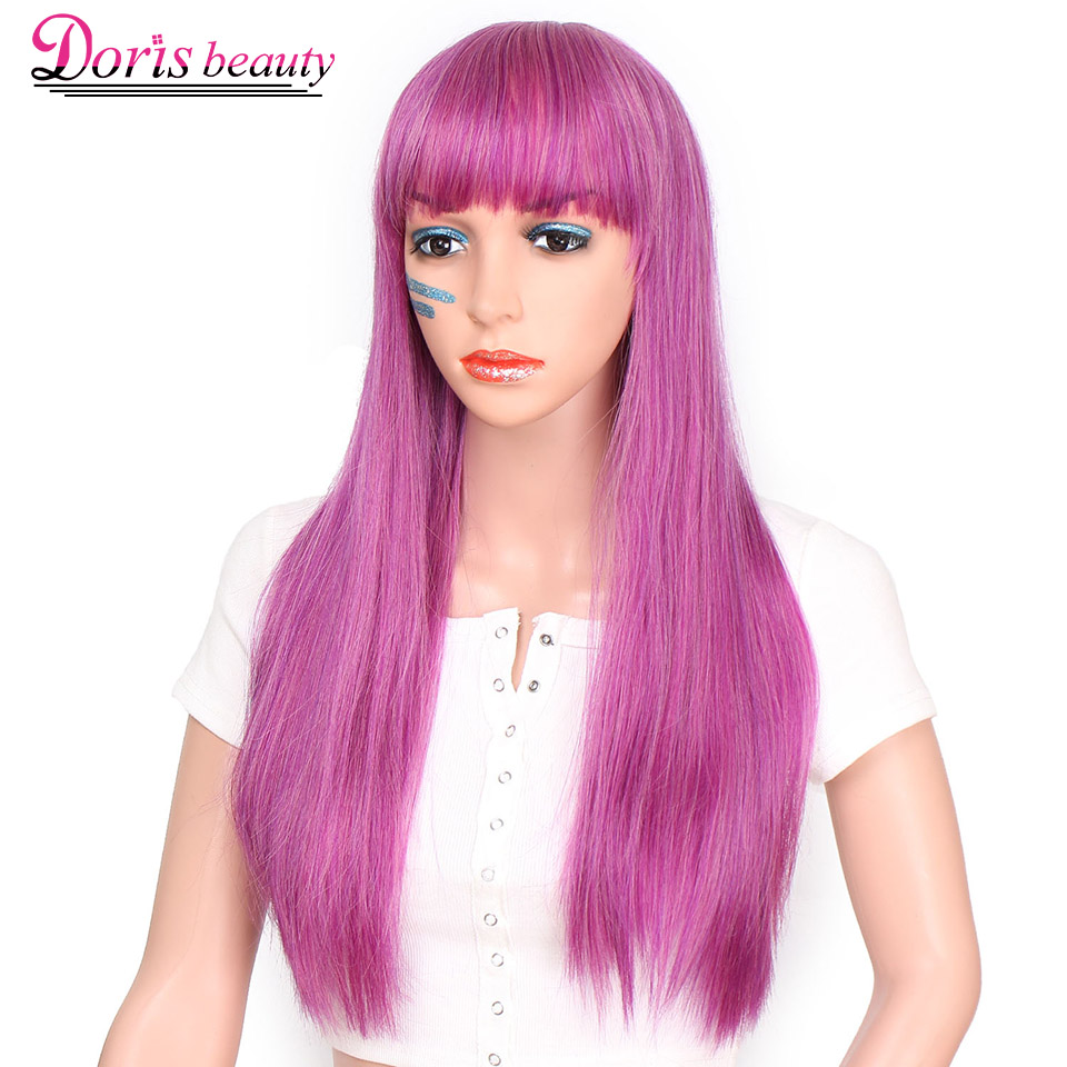 Doris Beauty Straight Purple Wig Synthetic Hair Natural Long For Women With Bangs Black Brown Color Heat Resistant