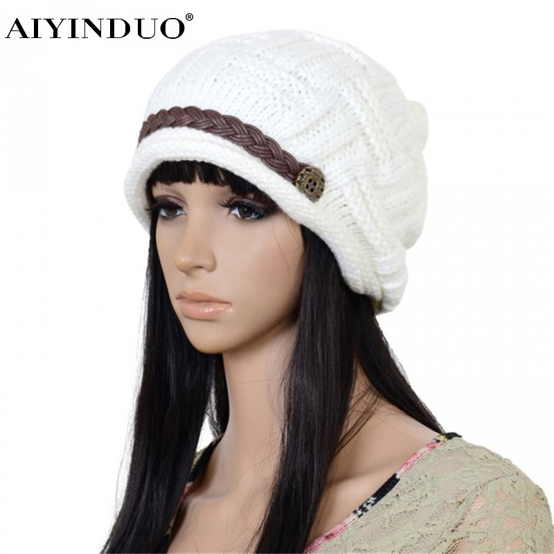 2016 New Fashion Korean Style Autumn and Winter Wool Knit Hat Leather Chain Set Of Head Cap Warm Hat Outdoors Men and Women