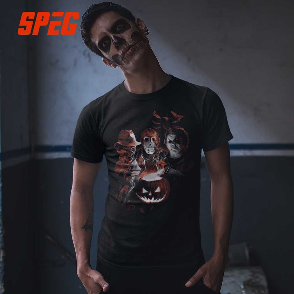 53ac9eb9fd8 ... Super Villains Halloween Friday the 13th Horror T Shirt Jason Voorhees  Michael Myers T-Shirts ...