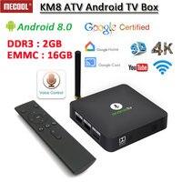 Android ТВ коробка MECOOL KM8 ATV, 2 Гб оперативной памяти, 16 Гб встроенной памяти, Android 8,0 Поддержка Google Home 3D 2,4 Gwifi 4 K H.265 IPTV Google Cast pk h96max h96 KM8 ATV