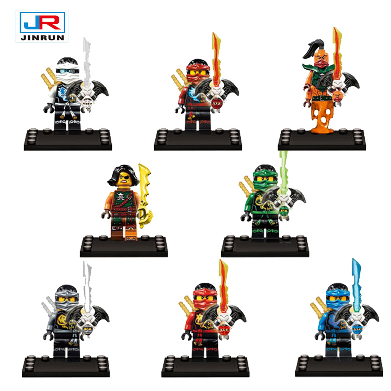 3 Style 8Pcs/lot Ninjagoes With Weapon Compatible Building Blocks Ninja Jay Lloyd Toy Bricks Model For Kids Gift 2016 new ninja kay fight building blocks sets 94 pcs bricks model toys ninjagoes compatible legoelieds toy without retail box