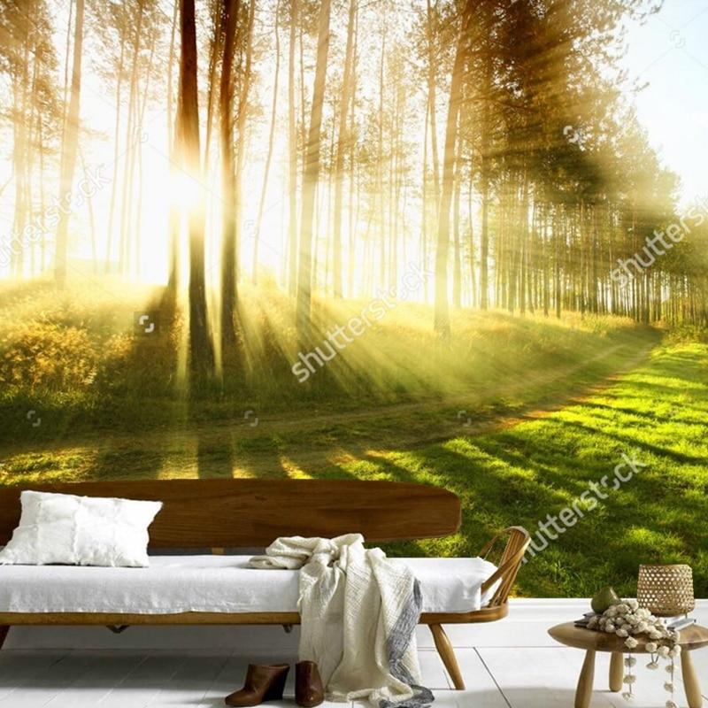 Personalizado papel tapiz paisaje natural bosque nublado for Mural pared personalizado