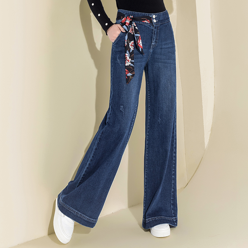 Denim High Waist Wide Leg Pants Cotton Vintage Baggy Pants Casual Loose Full Length Pants Drawstring Palazzo Retro Trousers 2018