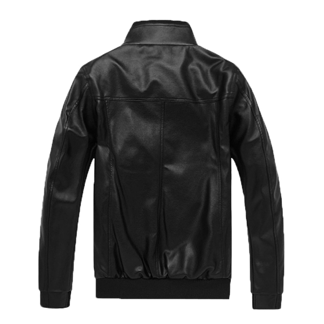 LetsKeep Autumn Winter PU Leather jacket men Stand collar Motorcycle Outerwear coat mens slim fit jackets plus size, ZA444