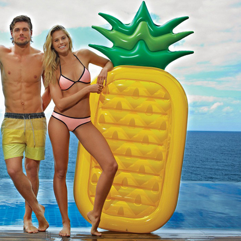 BIG SALE! Summer Beach Toy 180CM Pineapple Inflatable Toys Pool Float Party Games Giant Air <font><b>Mattress</b></font> Floating Bed with Feet Pump