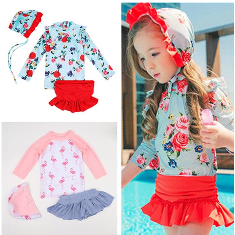 New Rose Summer Kid Girls Long Sleeve Sun Protective Swimwear Flamingos Swimsuit Baby Girl 1-11Y 3pcs Korean Set Bathing Suit