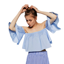 Women Blouses Solid Off Shoulder Slash Neck Flare Sleeve Women Summer Tops Blusas De Verao #2611
