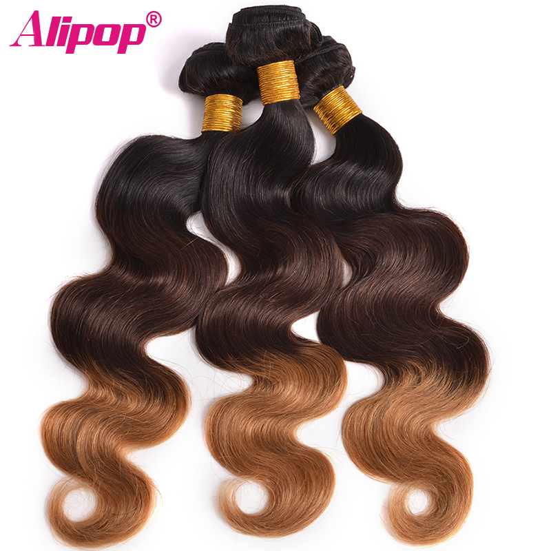Ombre 3 Bundles Brazilian Body Wave Hair Weave Bundles ombre Human Hair Bundles 1b/4/27 Ombre brazilian hair Bundles Nonremy