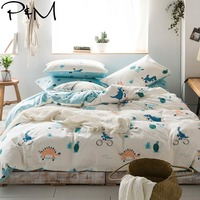 2019 PAPA&MIMA Blue Dinosaurs Cartoon Bedlinens Twin Queen King Size Cotton Duvet Cover Set Pillowcases 3/4pcs Bedding Set