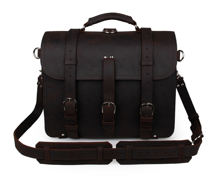 Free Shipping Crazy Horse Leather Men's Backpacks Tote Dark Brown Travel Bags  #7072R-2 free shipping mono top dark brown