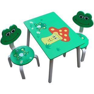 2-6Age Baby Cartoon Wood Table and Chair Set Children Desks for Kindergarden Kid Tables Frog Design