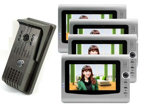Home protection- New arrival 7 inch TFT LCD monitor video door phone/Security doorbell(1camera+4monitors), IR Camera 1 TO 2