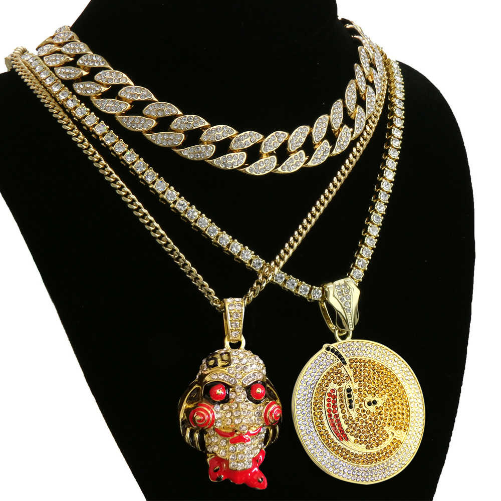 "Hip Hop Horror 69 Mask Emoji Necklace & Round Pendant Tennis Chain & 18"" Full Iced Out Crystal Cuban Choker Chain Jewelry Gift"
