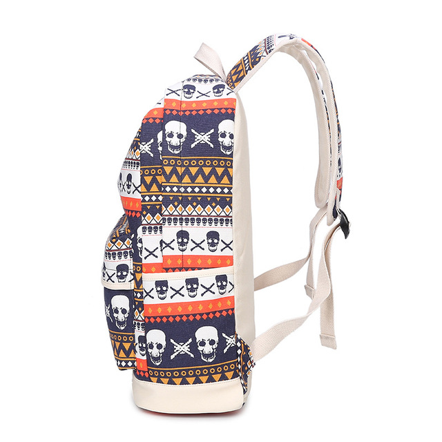 Printing Women Geometric Backpack Skull Canvas Bookbags Set Backpack School Bags for Teenage Girls 2